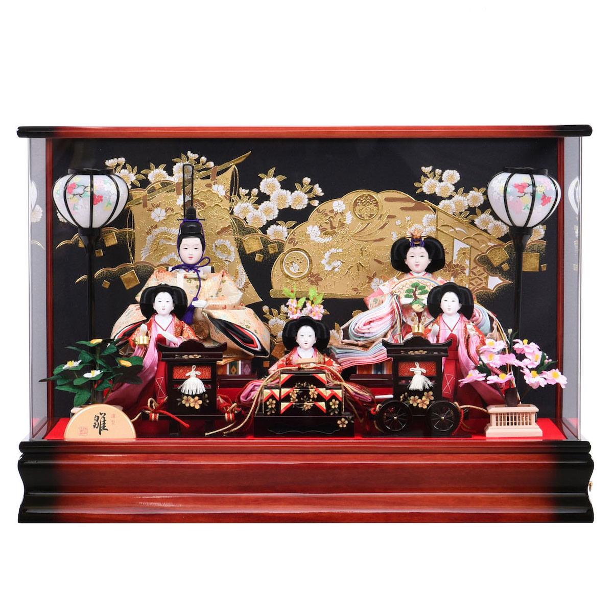 雛人形 ひな人形 アクリルケース 金彩 三五五人飾り 狭山清玉 ひな祭り 送料無料