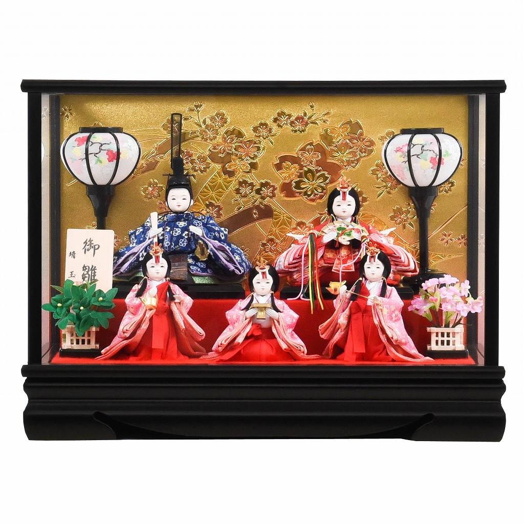 雛人形 ケース入 おぼこ 舞桜 小芥子五人飾り 送料無料