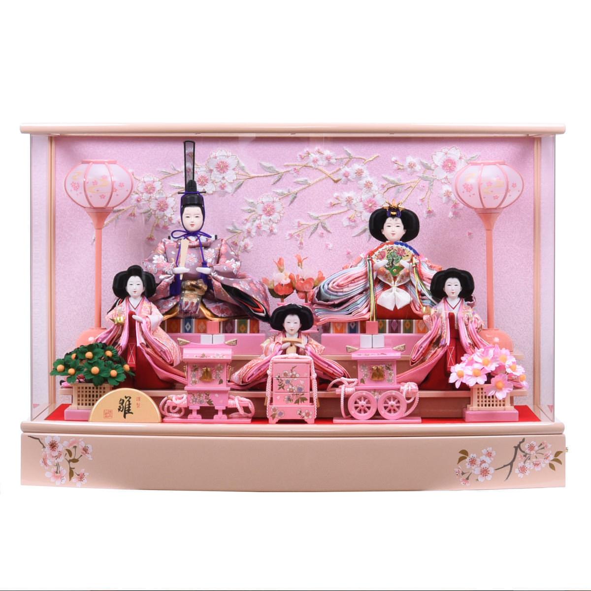 雛人形 芥子 アクリルケース入五人飾り 狭山清玉 送料無料