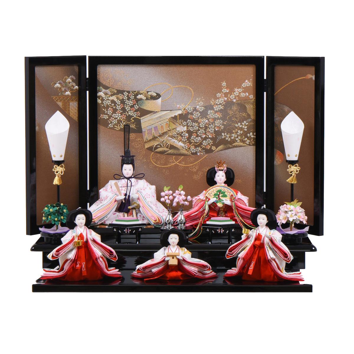 雛人形 小三五 折畳み段飾り 小型五人飾り 送料無料 【期間限定ポイント10倍】