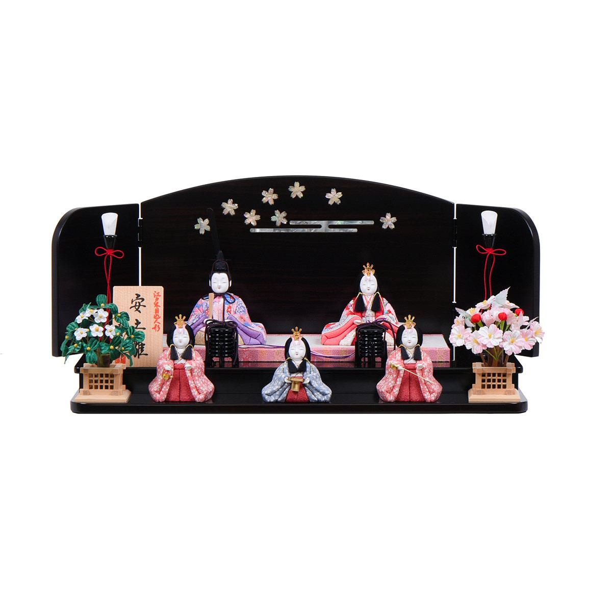 木目込人形 木村一秀 安土雛 小型五人飾り 送料無料