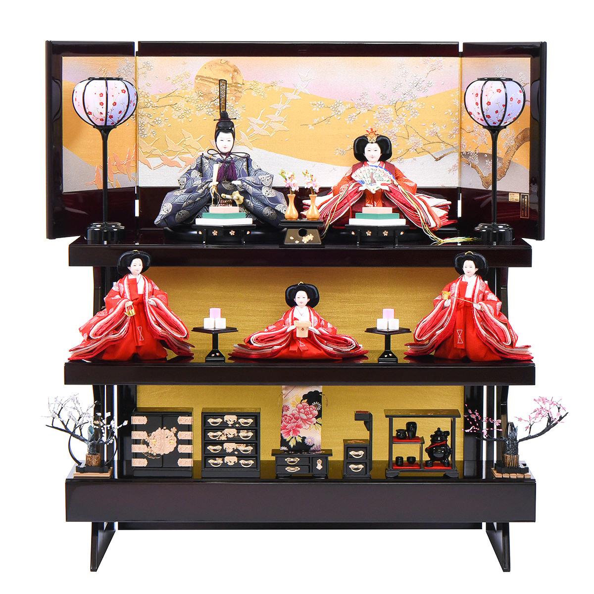 ひな人形 三五 三段飾り 正絹親王 望月龍翠作 送料無料