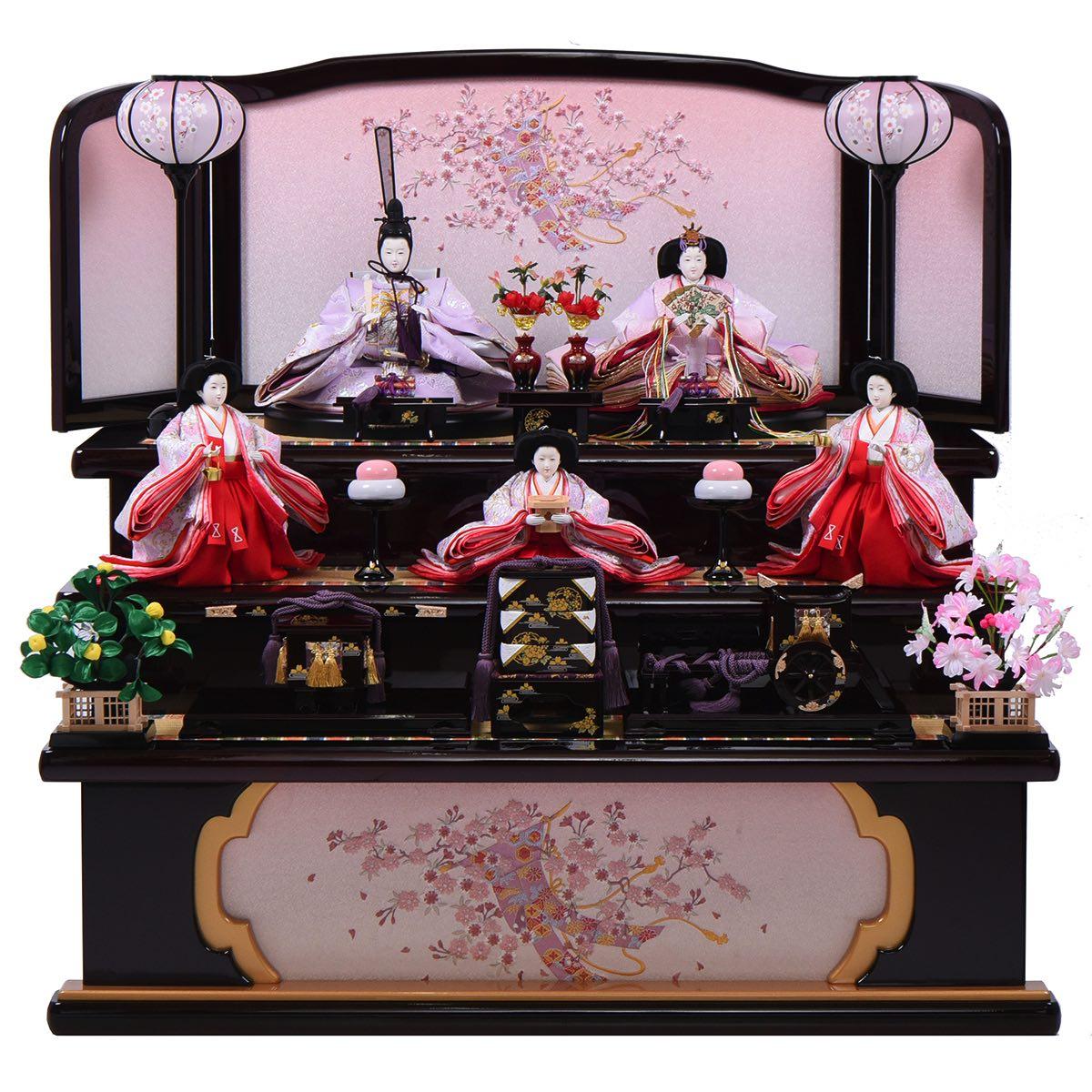 雛人形 小十番 牡丹桜三段飾り 鳳凰刺繍五人 送料無料 【期間限定ポイント10倍】