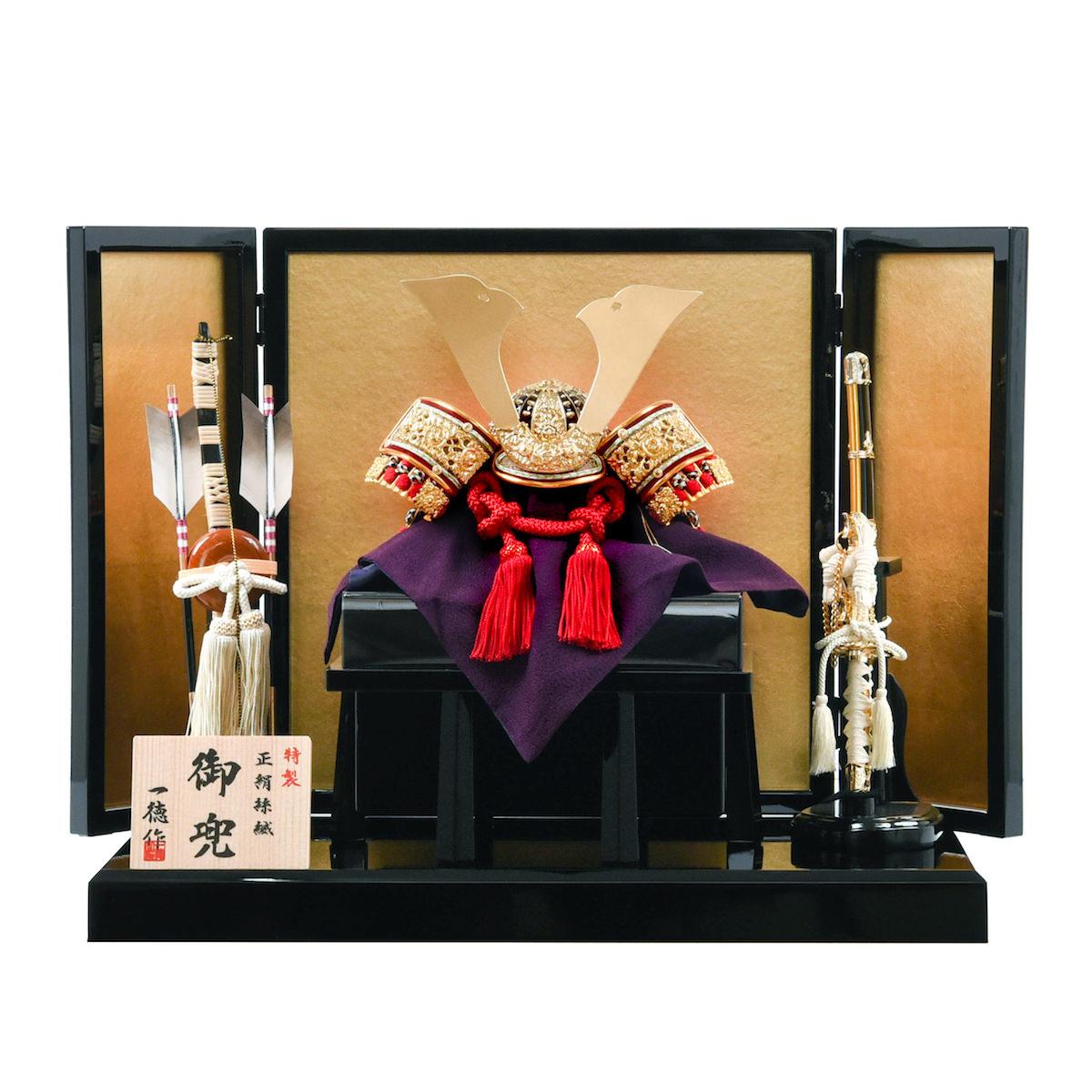 出産祝い 五月人形【兜飾り 赤糸威兜 金屏風】格安 本格 正絹 鉄製