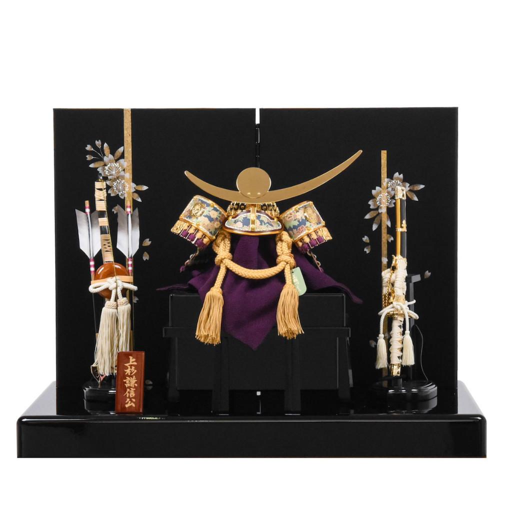 五月節句 男の子 五月人形 兜飾り 上杉謙信 夜桜屏風 送料無料