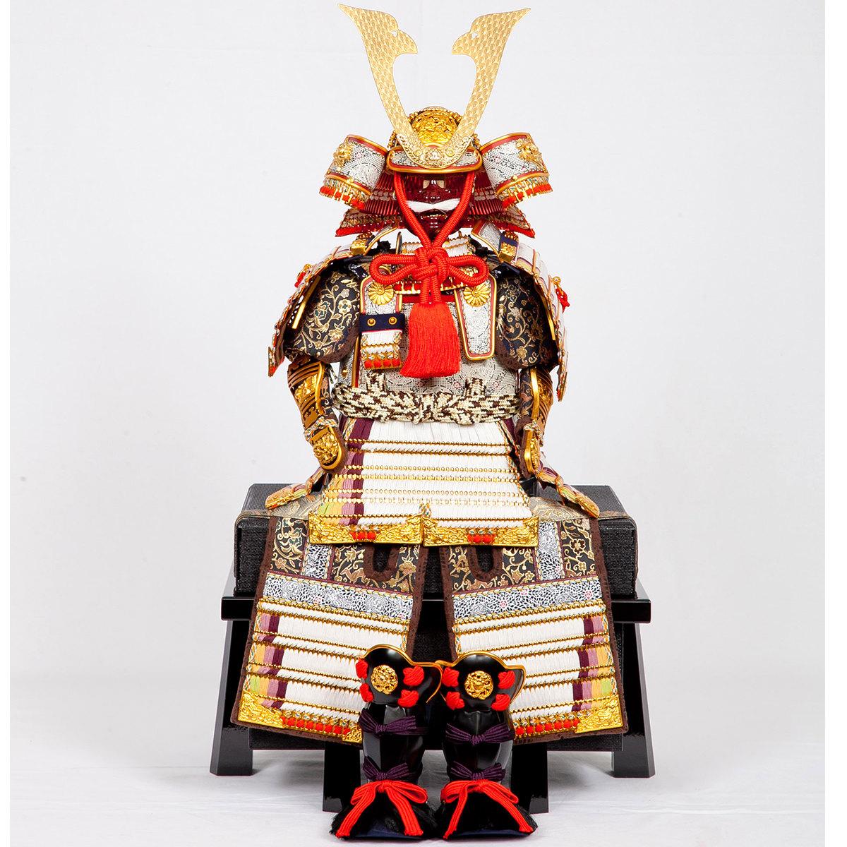 五月節句 男の子 五月人形 鎧飾り単品 7号 白糸威褄取大鎧 鈴甲子雄山作 格安 送料無料