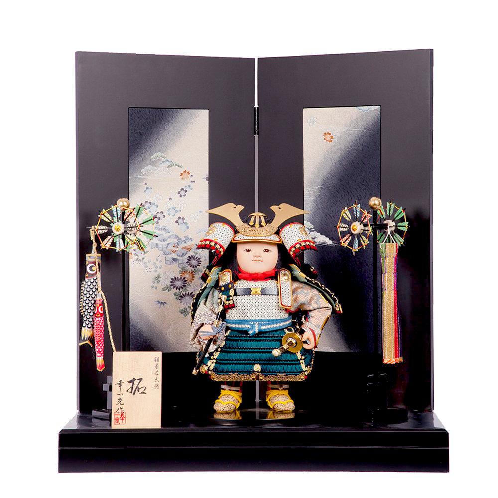 五月節句 男の子 五月人形 鎧着大将飾り 幸一光 『拓』古布屏風 送料無料