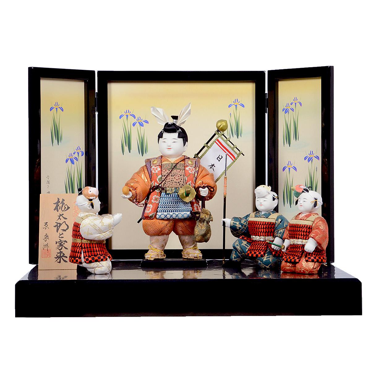 五月節句 男の子 五月人形 木目込み 子供大将飾り 原孝洲 「桃太郎と家来」菖蒲屏風 送料無料