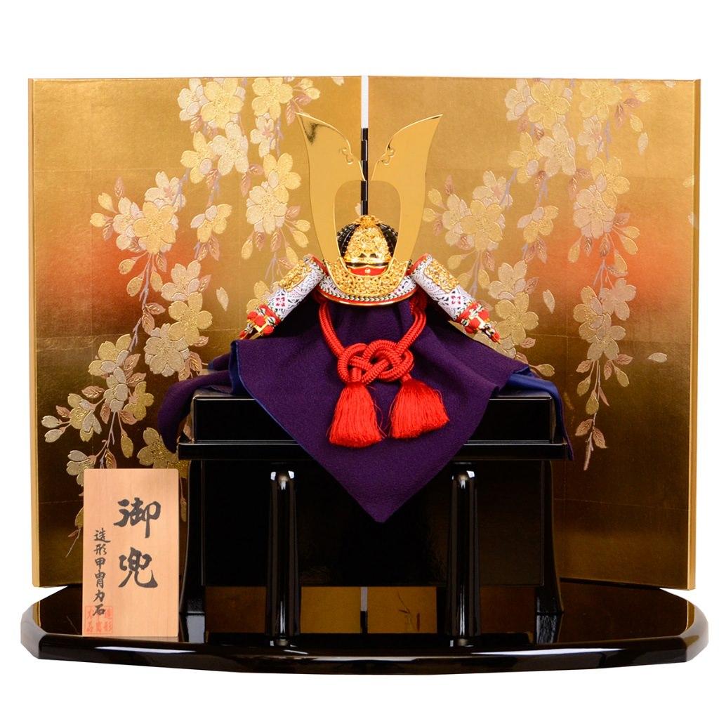 五月節句 五月人形 兜飾り 赤糸威之兜 二方白 13号 造形甲冑力石 送料無料