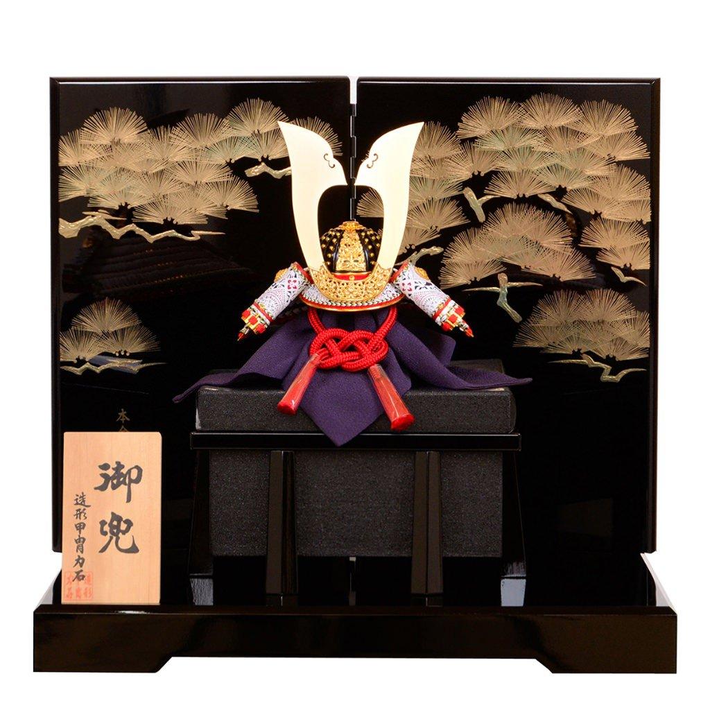五月節句 五月人形 兜飾り 白糸威星付 10号 造形甲冑力石 蒔絵松寿 送料無料
