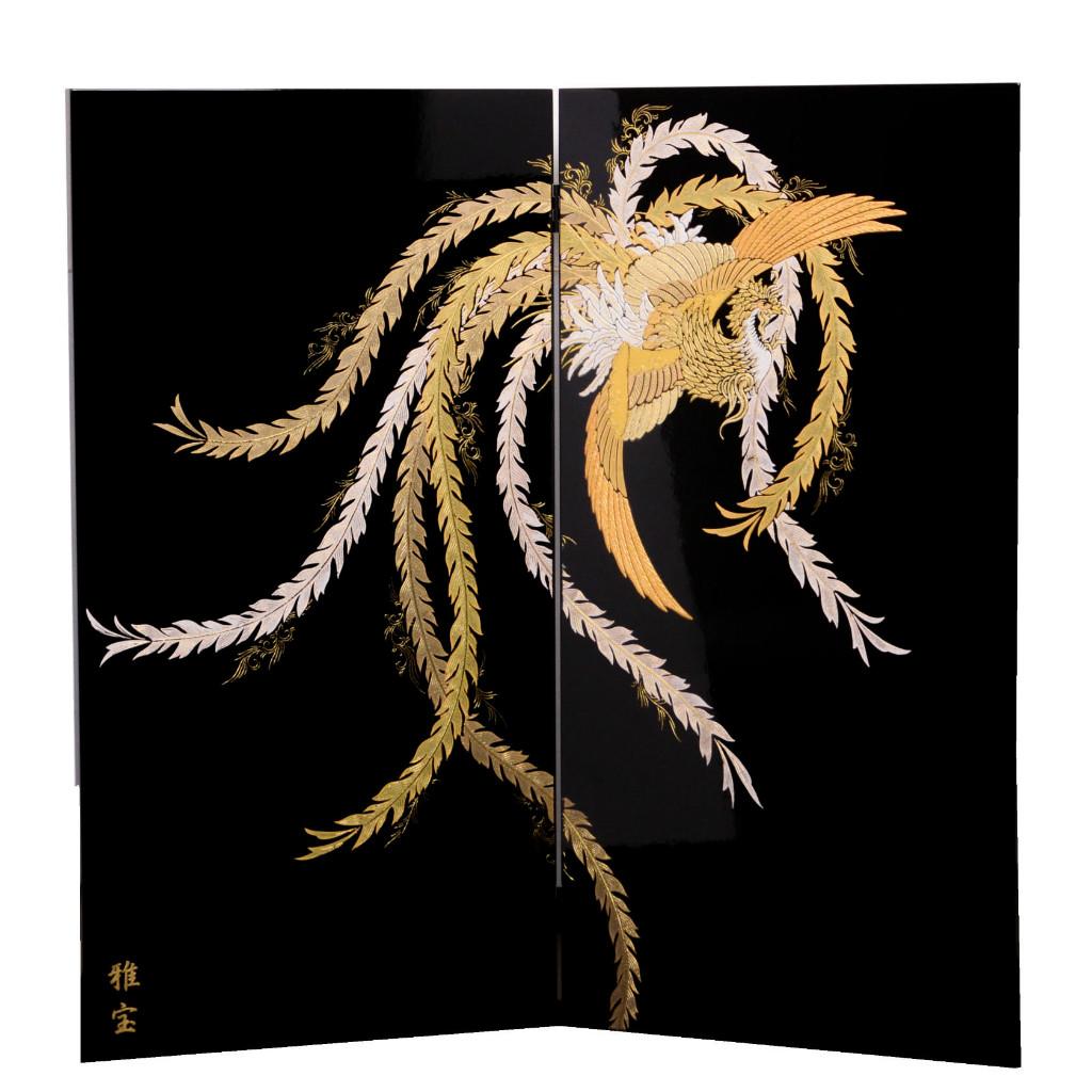 五月節句 男の子 五月人形 単品屏風 23号 彫金鳳凰二曲屏風 単品販売 送料無料