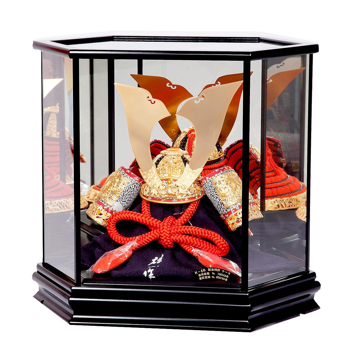 五月節句 男の子 五月人形 兜飾り 10号 竹に虎雀兜飾り 鈴甲子雄山作 六角鏡ケース 格安 送料無料