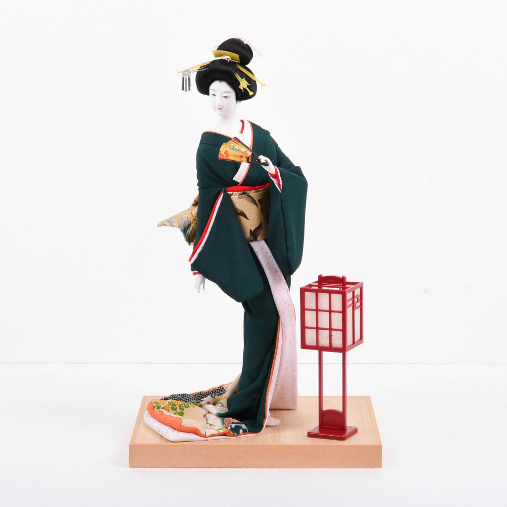 尾山人形 緑 桐塑頭(本練頭) 荻野和風作【送料無料】【展示特価品】