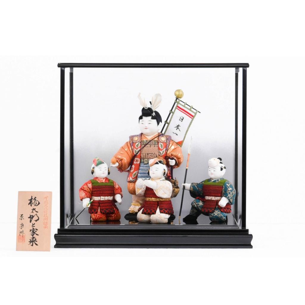 五月人形 木目込人形 桃太郎と家来 原孝洲作 くもりガラスケース入り 送料無料