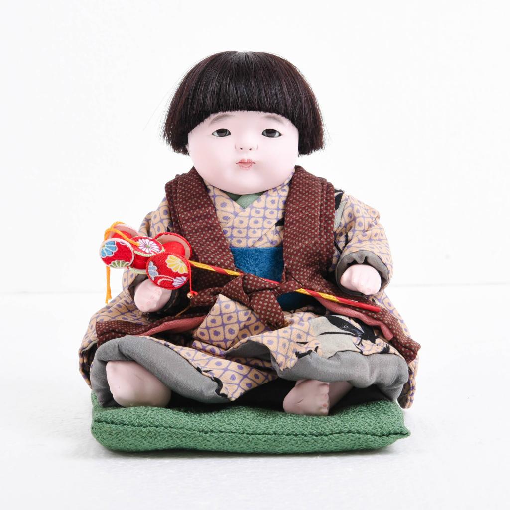 市松人形 おさな人形 男の子(小) でんでん太鼓付き 松乾斎東光作【送料無料】【展示特価品】