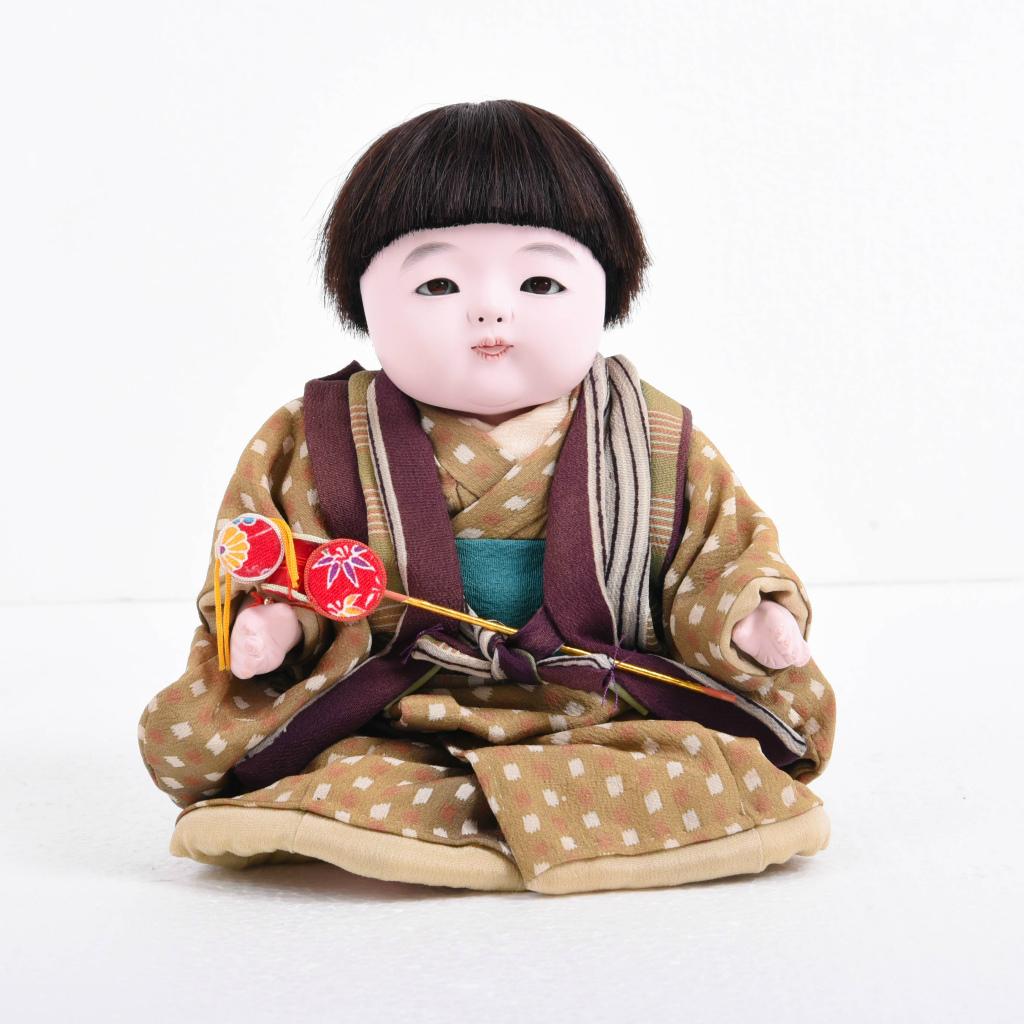 市松人形 おさな人形 男の子(中) でんでん太鼓付き 松乾斎東光作【送料無料】【展示特価品】