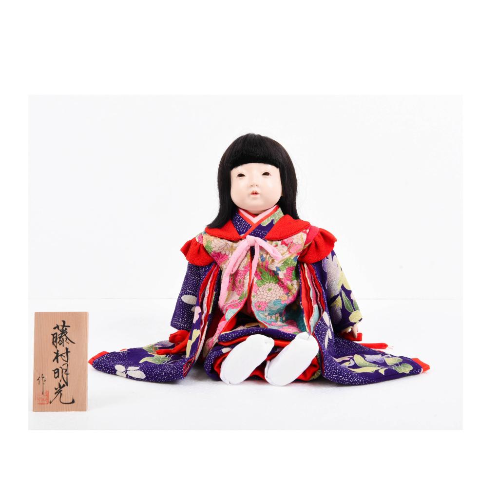 市松人形 抱き人形 女の子(大) 紫古布 藤村明光作【送料無料】【展示特価品】