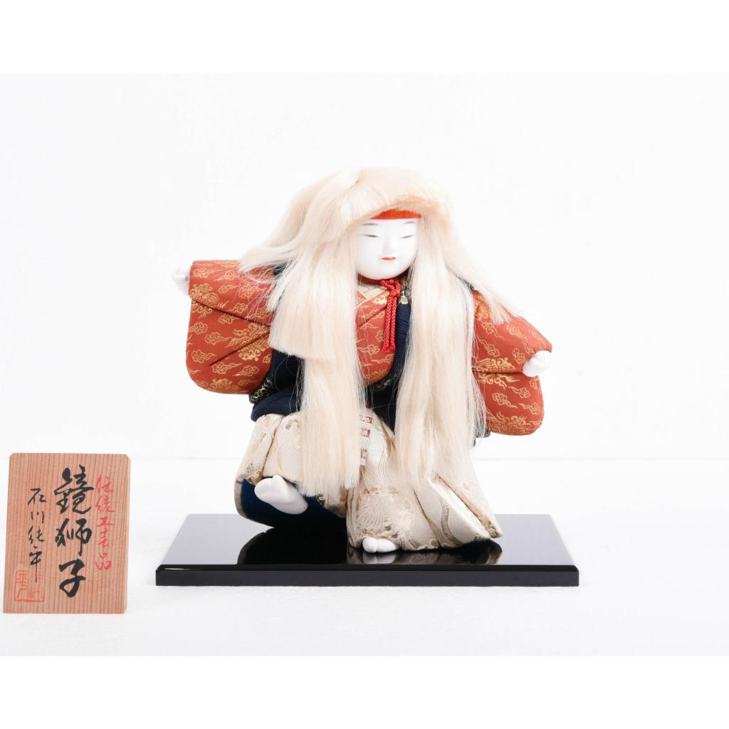 木目込人形 鏡獅子足上げ 黒台付き 石川潤平作 アウトレット 送料無料