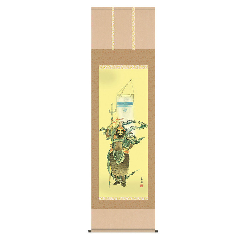 掛軸 掛け軸 第五十三集 端午の節句 鐘馗 洛彩緞子本表装 尺五 鈴木翠朋 白翠会 桐箱 【2020年度新作】 h28-snk-53f5-006
