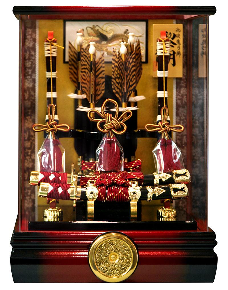 破魔弓 久月 ケース飾り 黎明 彫金 本籐 太刀 10号 アクリルパノラマカブセケース 【2020年度新作】 h021-k-reimei10