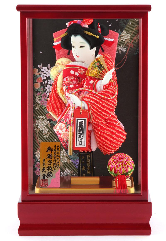 羽子板 久月 ケース飾り 正絹造り 紅彩 8号 h291-kcp-kosai8