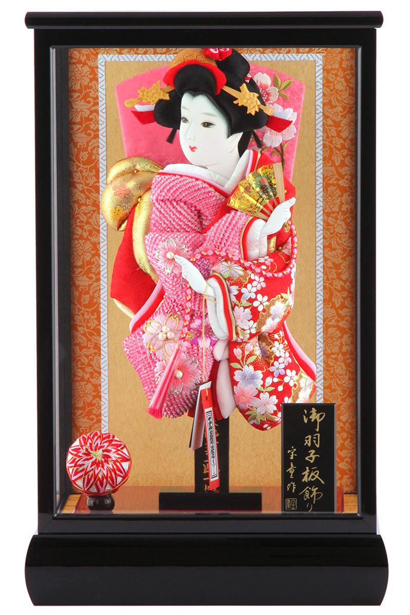 羽子板 正月飾り ケース飾り 正絹造り 小雪輪枝桜 赤 10号 黒溜りケース h291-skt-10-bl10