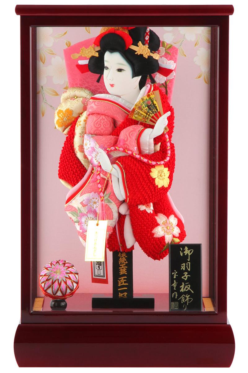 羽子板 正月飾り ケース飾り 正絹造り 極上桜 赤 10号 赤溜りケース h291-skt-10-red10