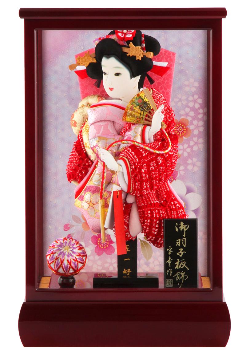 羽子板 正月飾り ケース飾り 正絹造り 総柄かのこ 8号 赤溜りケース h291-skt-8-red9
