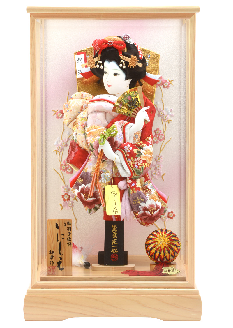羽子板 初正月 ケース飾り 匠一好作 刺繍割付桜 赤 15号 梅幸作 いにしえ 総檜造り h281-set-skt-28-15-16