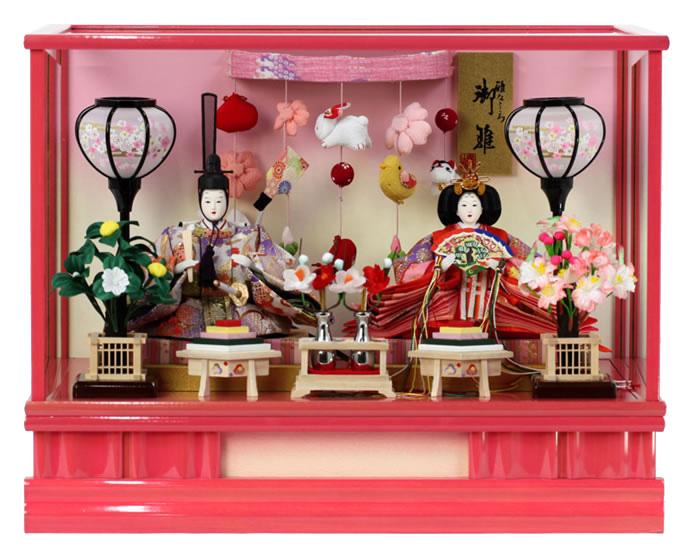 雛人形 ひな人形 小さい コンパクト 雛人形 雛 ケース飾り 雛 親王飾り 雅なこころ 御雛 美咲 オルゴール付 h243-sb-misaki 【2019年度新作】