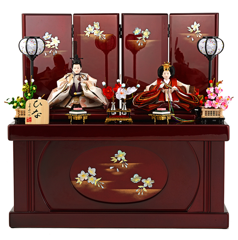 雛人形 特選 ひな人形 雛 親王飾り 収納飾り 桜舞 螺鈿 漆塗 【2019年度新作】 h263-sb-sakuramai