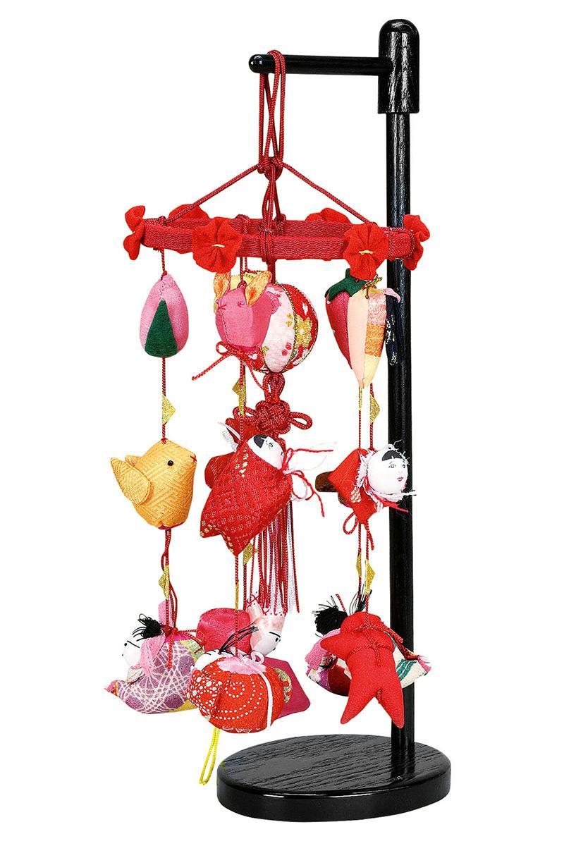 雛人形 ひな人形 雛 つるし飾り つるし雛 さげもん まり飾り (ミニ) 飾り台付 【2020年度新作】 h023-fz-3620-09-011