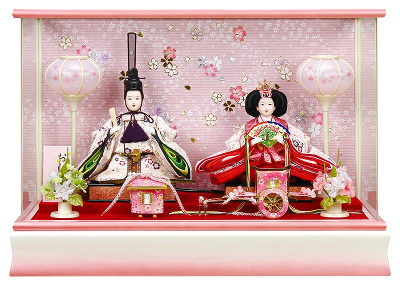 雛人形 特選 ひな人形 雛 ケース飾り 親王飾り 小三五親王 アクリルケース オルゴール付 【2019年度新作】 h313-fz-3300-68-007