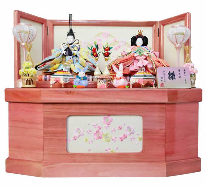 雛人形 特選 ひな人形 小さい 雛人形 特選 雛 コンパクト収納飾り 雛 親王飾り 夢式部 雛 mi-7510 【2019年度新作】