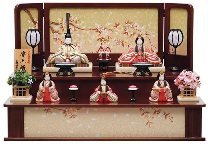 雛人形 特選 ひな人形 雛 一秀 平飾り 五人飾り 木目込み人形 一秀作 安土雛 180号 【2014年度新作】 h243-ii-021