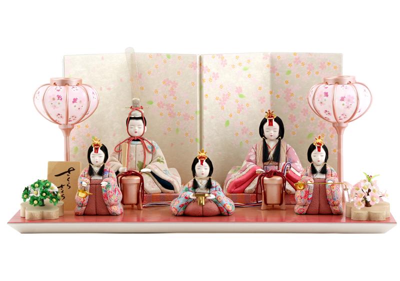 雛人形 特選 一秀 ひな人形 雛 木目込人形飾り 平飾り 五人飾り 木村一秀作 さくらさくら 16号 【2019年度新作】 h313-ic-113
