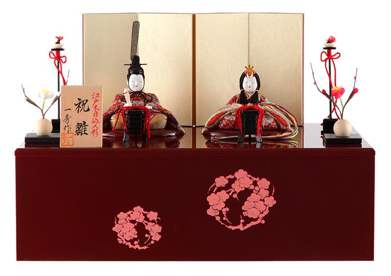雛人形 特選 一秀 ひな人形 雛 木目込人形飾り コンパクト収納飾り 親王飾り 木村一秀作 祝雛 龍村美術織物 1-2号 【2019年度新作】 h313-ig-008
