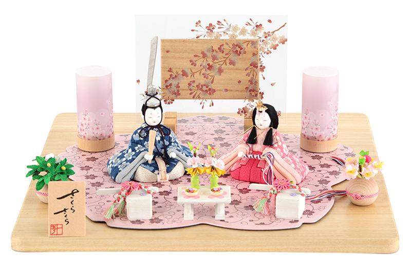 雛人形 一秀 ひな人形 雛 木目込人形飾り 平飾り 親王飾り 木村一秀作 さくらさくら 金彩 2号 【2018年度新作】 h303-ic-124