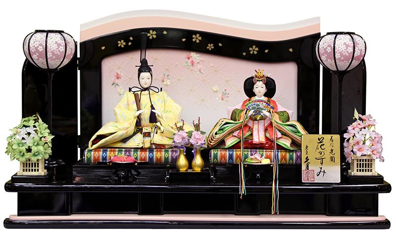 雛人形 特選 久月 ひな人形 雛 平飾り 親王飾り 着付 光園 花がすみ 金彩 三五親王 【2019年度新作】 h313-k-3249