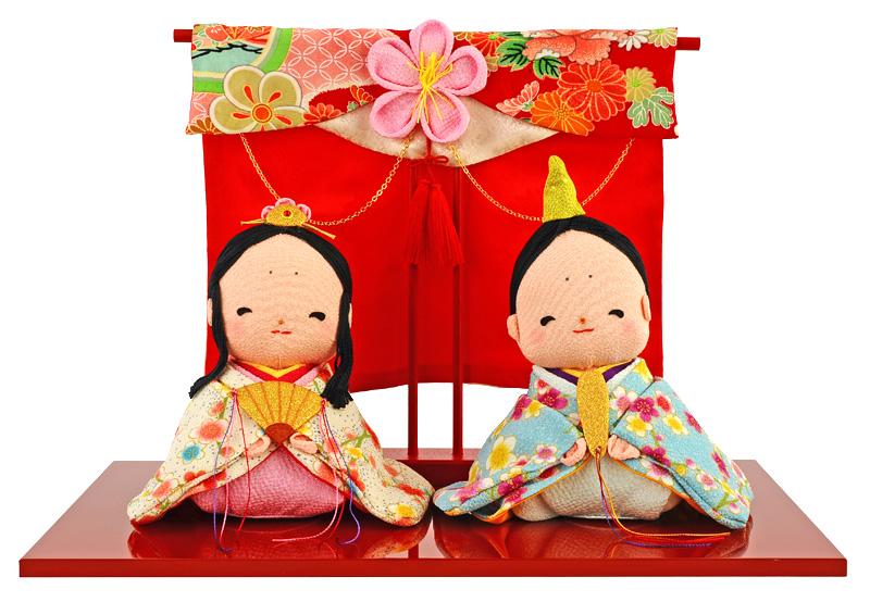 雛人形 特選 コンパクト ひな人形 雛 平飾り 親王飾り 和ぐるみ ほんわか春色雛 几帳付 【2019年度新作】 h283-rk-1-0650