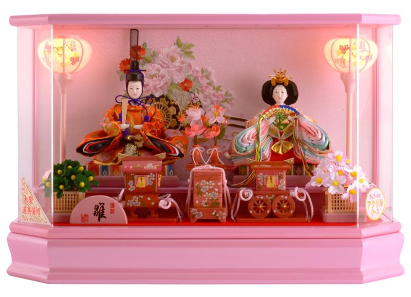 雛人形 特選 ひな人形 小さい コンパクト 雛人形 特選 雛 ケース飾り 雛 親王飾り アクリルケース オルゴール付 h253-sg-4-5p2 【2019年度新作】