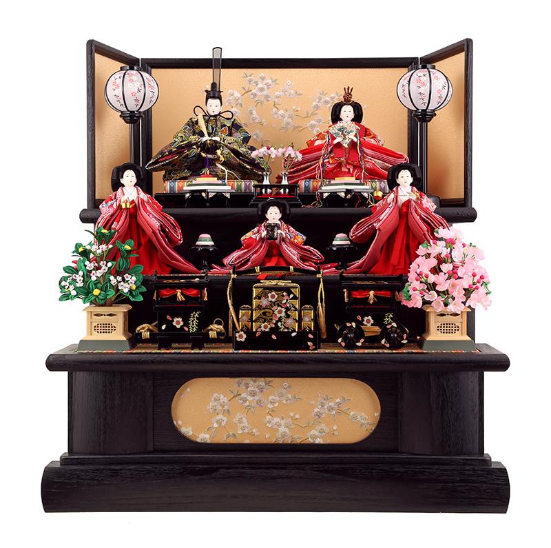 雛人形 ひな人形 雛 三段飾り 五人飾り 雛 名匠・逸品飾り 雛人形 黒木目 お雛様 おひなさま h22-aki-kuromoku3 おしゃれ かわいい 人形屋ホンポ