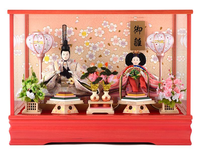 雛人形 特選 ひな人形 小さい コンパクト 雛人形 特選 雛 ケース飾り 雛 親王飾り ゆうか ピンク艶 26052 h263-ts-yuuka-p 【2019年度新作】