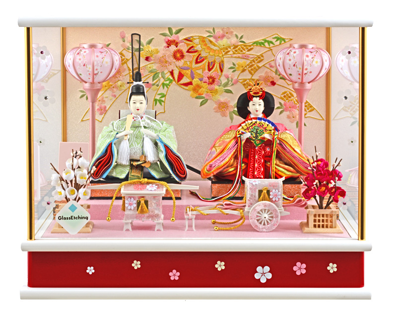 雛人形 ひな人形 小さい コンパクト 雛人形 雛 ケース飾り 雛 親王飾り 広告の品 おひなさま 小芥子二人 オルゴール付 h273-wt-14-59 【2019年度新作】
