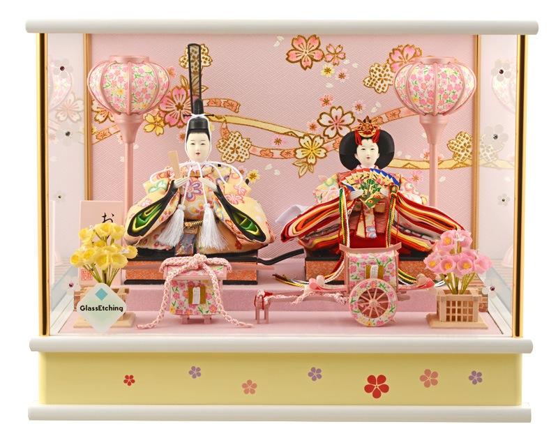 雛人形 ひな人形 小さい コンパクト 雛人形 雛 ケース飾り 雛 親王飾り 広告の品 おひなさま 小芥子二人 オルゴール付 h273-wt-14-60 【2019年度新作】