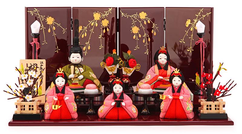 雛人形 コンパクト ひな人形 雛 木目込人形飾り 平飾り 五人飾り 金子久一作 桜寿雛 金彩 入目 【2019年度新作】 h293-ed-3n403