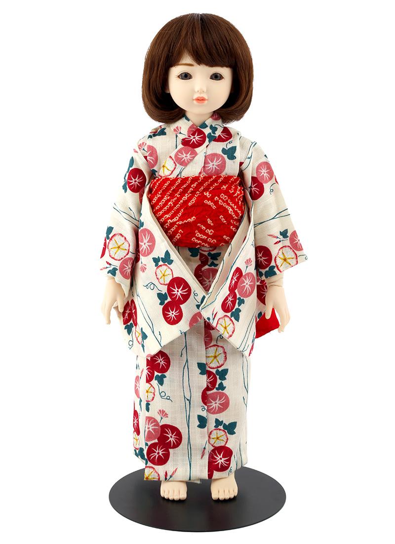 ドールファン必見 遊べるお人形 球体関節人形 aya 浴衣セット 白 朝顔 ショートカール(ブラウン) mimy-a-brsc-jay03