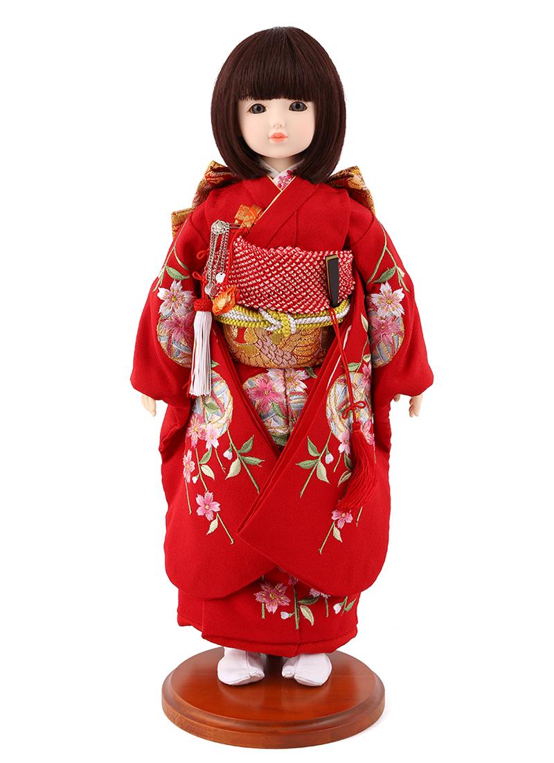 ドールファン必見 遊べるお人形 球体関節人形 aya 着物セット 正絹 赤 枝垂桜に鞠 刺繍 ショートボブ(レッドブラウン) スタンド付 mimy-a-brsb-jaw10