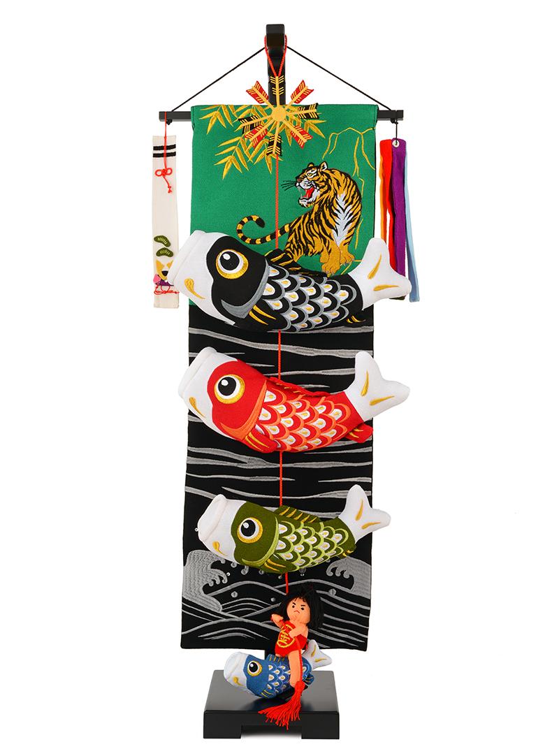 五月人形 こいのぼり 室内用 金太郎鯉のぼり 中 飾り台セットh285-sb-tr-gt-m