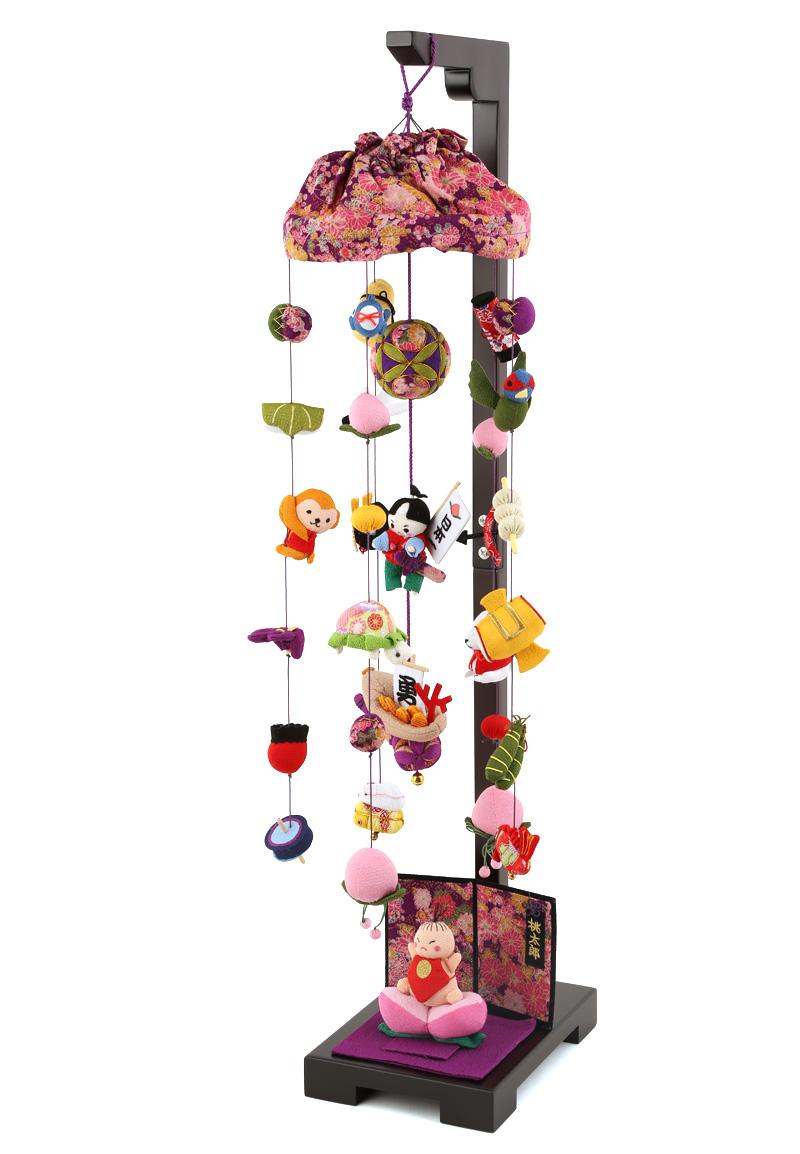 五月人形 つるし飾り 新桃太郎 中 飾り台セットh285-sb-tr-p001s